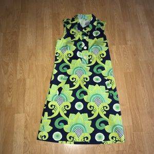 j McLaughlin printed green floral dress size 6